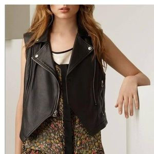 Rag & Bone Black Lamb Leather Sleeveless Moto Vest